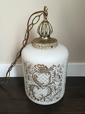 Vintage Frosted Glass VV France Hanging Lamp Light Gold Leaf Bronze Retro Decor 3