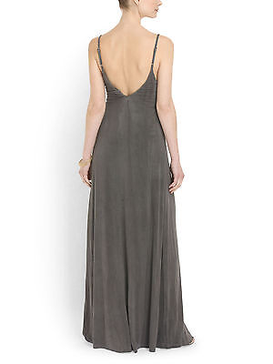 NWT Gypsy 05 Sand Gray Deep V Bamboo Side Strap Detail Maxi Dress XS $187