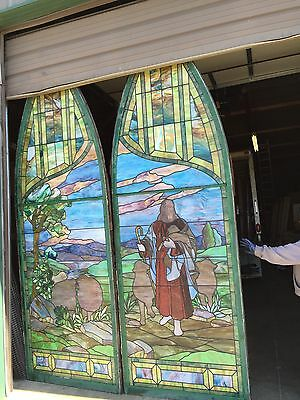 Antique Stained Glass 11 Foot Good Shepherd Window 12