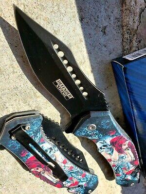 Tactical Print Handle Spring Pocket Knife Folding Tactical Open Serrate Blade 11