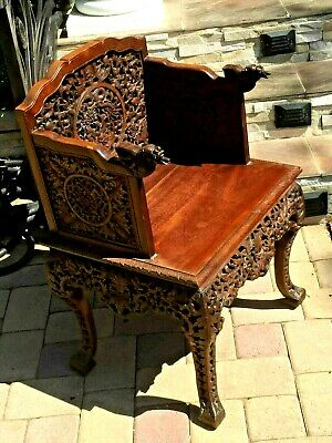 -Chinese Anique Hand Carved Huan Ghuali Armchair Dragon Design*- 6