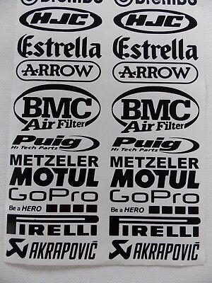 Sponsoren Aufkleber Set 2 X 20 Stück Motorrad Auto 10cm Breit Schwarz