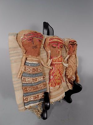 Peru Peruvian Central Coast Chancay Fabric Cotton Burial Dolls  #3 6