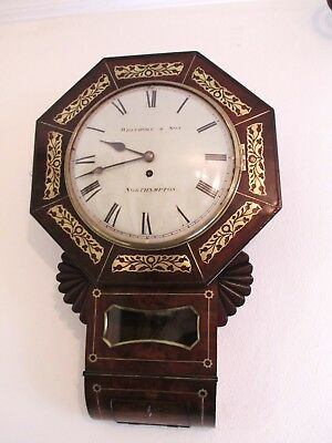 Whitmore Northampton Regency Superb Brass Inlaid Convex Dial Wall Clock 6
