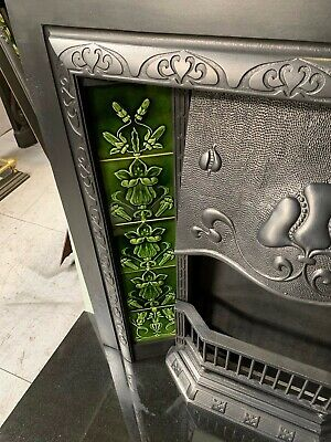 Original Antique Art Nouveau cast iron Fireplace Insert Nouveau Majolica Tiles 9
