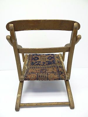 Antique Wood Wooden Blue & Red Oriental Prayer Rug Seat Kids Childrens Chair 4