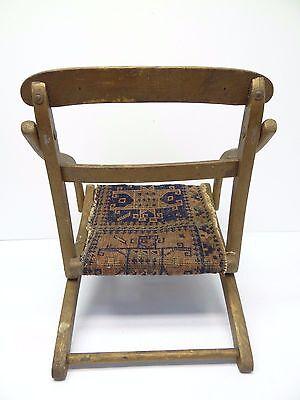 Antique Wood Wooden Blue & Red Oriental Prayer Rug Seat Kids Childrens Chair 4