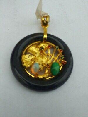 China  Jade with Various gemstones Pendant pair 玉坠 6