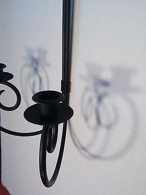Decorative Wrought Iron Black Dual Candleholder Hanging Wall Sconce Set of Two 2