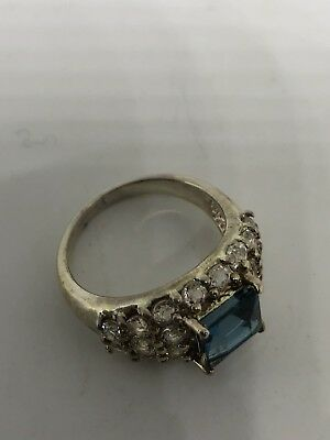 Deco Genuine London Blue Topaz Vintage 925 Sterling Silver Size 7 Ring 6