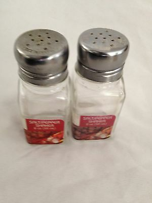 Clear 2 oz Glass & Stainless Steel GEMCO Simple Salt & Pepper Shaker Set of 2