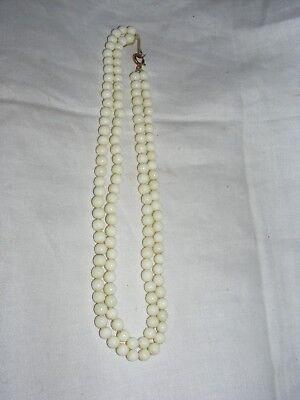 Art Deco Czech Max Neiger Bros Uranium Glass Bead Double Strand Necklace Round 3