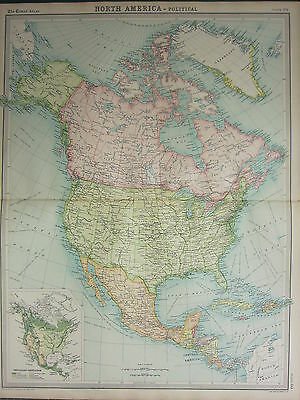 1921 LARGE MAP ~ North America ~ United States Mexico Central America Canada
