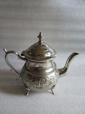 Rare Antique Moroccan Arabic Islamic Handmade Silver Alloy Tea Pot Kettle Signed 3