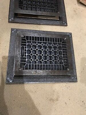 #7 Antique cast-iron floor mount heating grate with frame 2