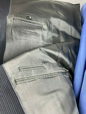 Joe Joseph Abboud Mens Large Dress Suits Navy Blue Pin Stripe 4