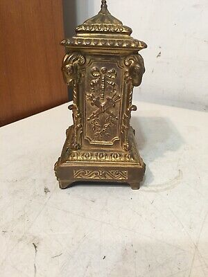 Antique Ornate Desk Or Carriage Clock W/ Rams Heads Ansonia Waterbury Era Parts 7