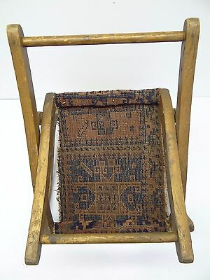 Antique Wood Wooden Blue & Red Oriental Prayer Rug Seat Kids Childrens Chair 7