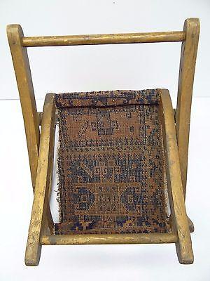 Antique Wood Wooden Blue & Red Oriental Prayer Rug Seat Kids Childrens Chair 7