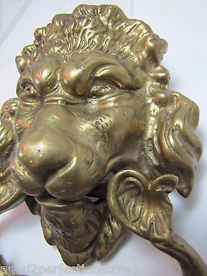 Old Brass Figural Lions Head Dauphin Koi Door Pull ornate architectural hardware 4