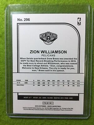 ZION WILLIAMSON ROOKIE CARD JERSEY #1 PELICANS RC 2019-20 Panini HOOPS rookie rc 2