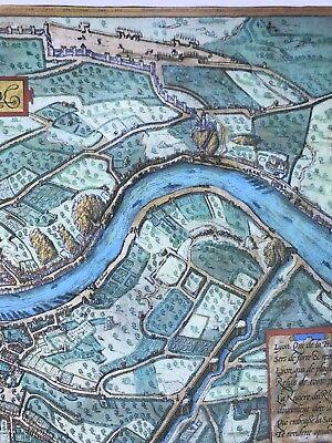 Old Antique Historic Map Lyon, France: 1572 Braun & Hogenberg REPRINT 1500's 5