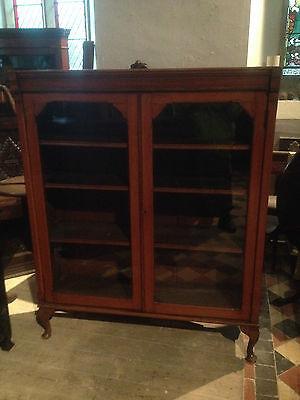 fine quality large antique gothic light golden oak victorian book case 2