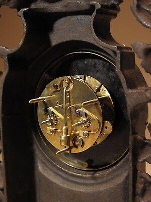 Rare Old Brown Colour Gild Cast iron Alarm mantel Clock Circa: 1890-1900 6