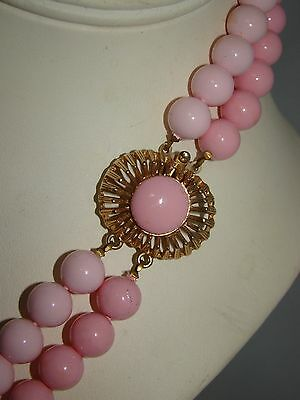 """Vintage Gold Tone Metal Clasp Two Tone Pink Beads Double Strand Necklace 24"""""""