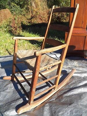 Shaker Antique Rocker Ladder Back Rocking Chair Very Early Maple & Ash wood 2