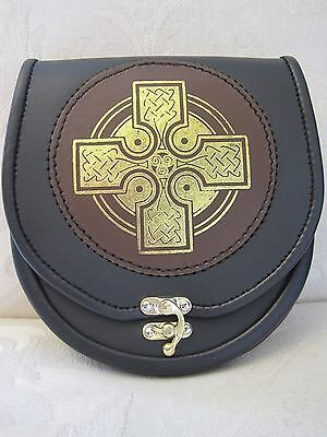 Pelle Sporran Croce Oro Nero/Pelle Marrone sporran per Kilt con catena Cintura 2