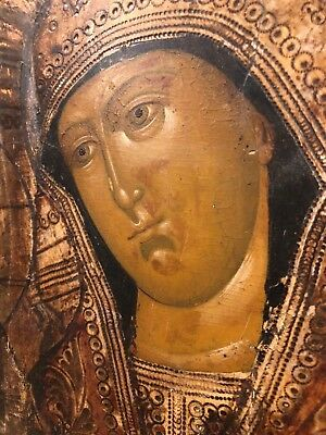 19th c Antique RUSSIAN ICON Mother of God Religious Orthodox Oil Painting Wood 5