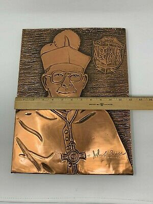 Vintage Trenton de Obispo John C. Reiss Hecho a Mano Cobre Tallado Pared Art 11