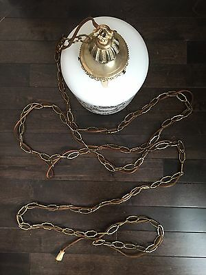Vintage Frosted Glass VV France Hanging Lamp Light Gold Leaf Bronze Retro Decor 8