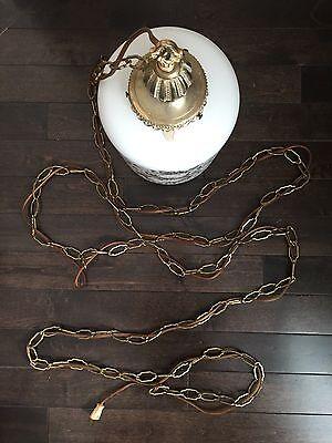 Vintage Frosted Glass VV France Hanging Lamp Light Gold Leaf Bronze Retro Decor 8