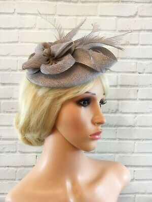 Ladies Silver Grey Fascinator Sinamay Flower Feathers Wedding Races Ascot 3