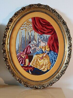 Antique Victorian Oval Wood Gold Gilt very ornate Frame EMBROIDERED Man n woman 2