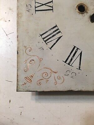 Beautiful Antique Painted Iron Grandfather Clock Dial C. 1800's Scroll Decor 6