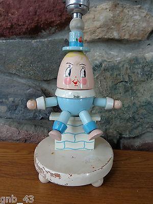 Nursery Plastics Humpty Dumpty Nursery Rhyme Painted Wood Folk Art Child/'s Bed Table Accent Lamp