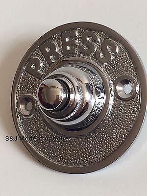 Round Door Bell Antique Mains Wire Vintage Push Button Chrome Victorian Doorbell 12