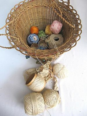 Antique Woven Wicker Reed Round Hanging Sewing Basket~Glass Bead Tassels~Vintage 6