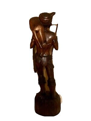 """antique asian wood carving 24"""" Tall Of hunter With Prey. 3"""
