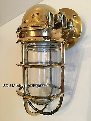 Antique Industrial Wall Light Vintage Cage Bulkhead Gold Brass Ship Lamp Old 12