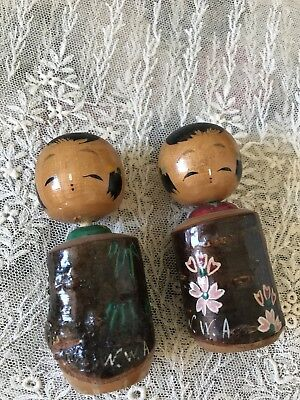 Rare 2 Vintage Japanese Kokeshi Wooden Nodder Doll Signed Made In Japan 2