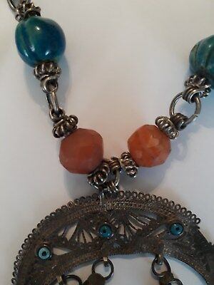 old Antique Vintage pure silver necklace ethnic coral , Egypt faience 7