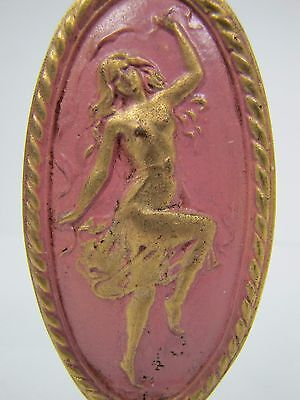Antique Art Nouveau Finial partially nude dancing lady nymph brass gold pink 2