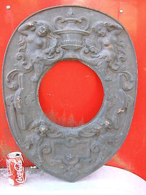 Antique Bronze Copper Nude Cherub Urn Panel Stove Hearth Art Frame Flue Plaque 9