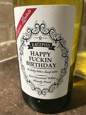 HAPPY BIRTHDAY DICKHEAD Funny Novelty Wine Bottle Labels Joke Humour