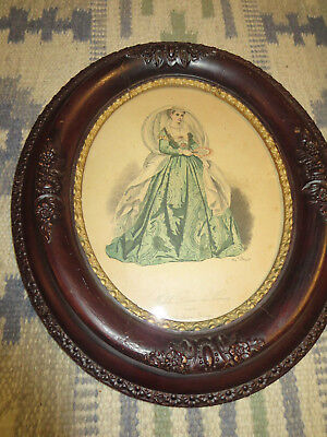"""2 Antique Edwardian Carved Wood 14"""" by 12-1/4"""" Oval Picture Frames 3"""