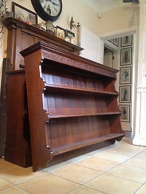 A Pair of Solid Oak Bookcases / Dressers Lunette Carved Cornice Maker Stamp 8